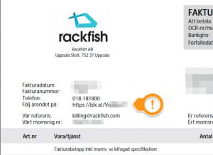 Rackfish Faktura webbhotell serverhosting